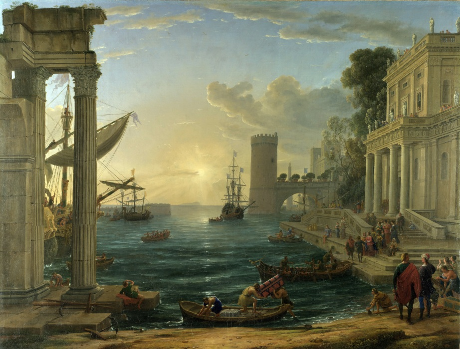 Claude Lorrain, Seaport with the Embarkation of the Queen of Sheba, 1648